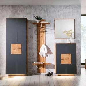 Design Garderoben Set in Anthrazit Wildeiche Massivholz (4-teilig)