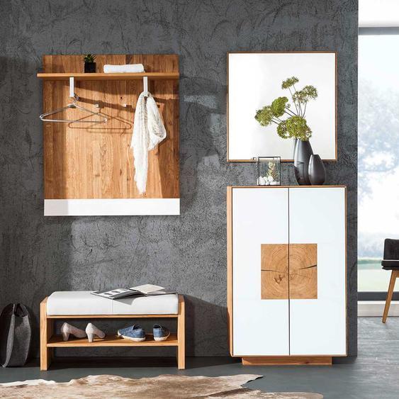 Design Garderoben Set in Weiß Wildeiche Massivholz (4-teilig)