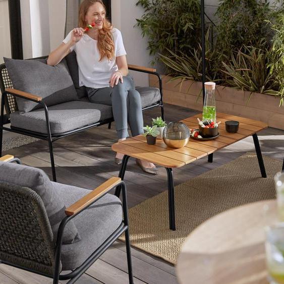Design-Gartensofa-Set - schwarz -