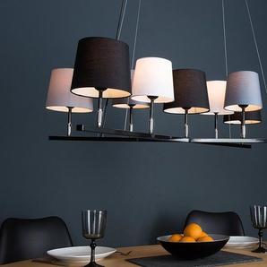 Design Hängeleuchte LEVELS II 95cm schwarz grau mit 9 Leinen Schirmen