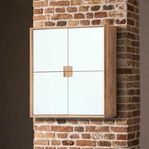 Design Hängeschrank mit 4 Türen Weiß mit Eiche Massivholz