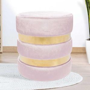Design Hocker in Rosa und Goldfarben Samt