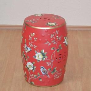 Design Hocker in Rot Keramik