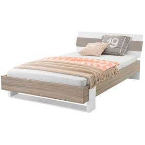 Design Jugendbett in Taupe Holz modern