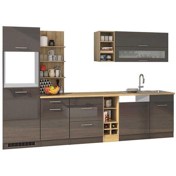 Design Küchenzeile in Grau Hochglanz 310 cm breit (9-teilig)