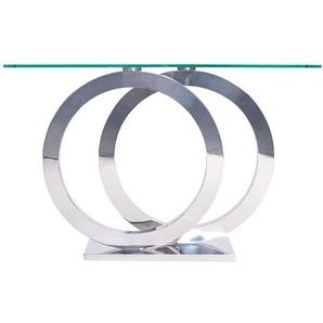 Design Konsolentisch in Chromfarben Glasplatte