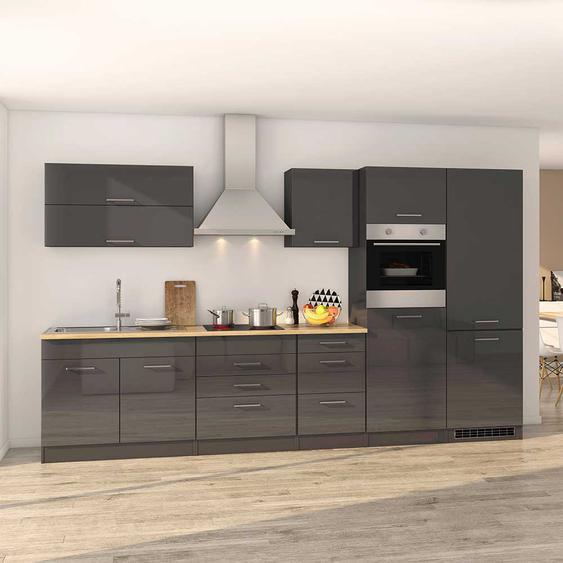 Design Küchenzeile mit Elektrogeräten Grau Hochglanz (12-teilig)