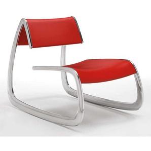 Design Lounge Sessel in Rot und Alufarben wetterfest