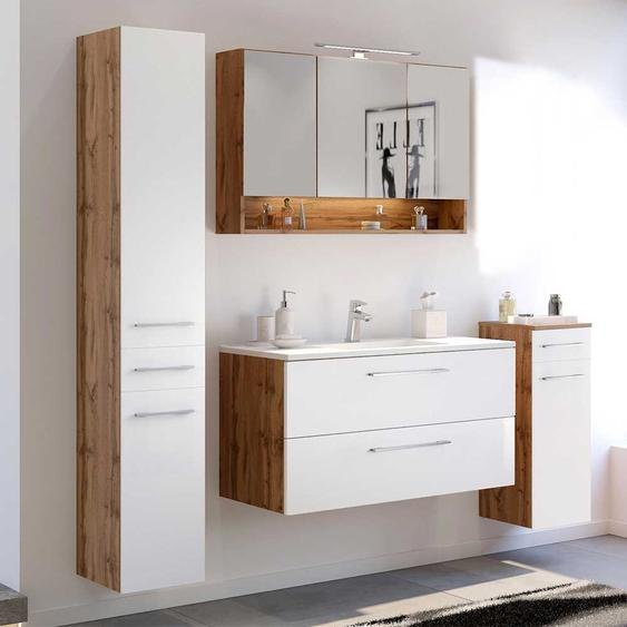 Design M�bel Set f�r Badezimmer Wei� und Wildeiche Optik (4-teilig)