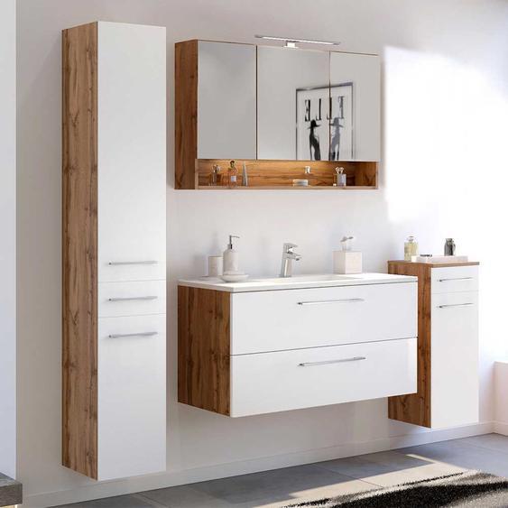 Design Möbel Set für Badezimmer Weiß und Wildeiche Optik (4-teilig)