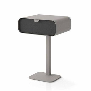 Design Nachttisch in Grau Schwarz Kunstleder Metall