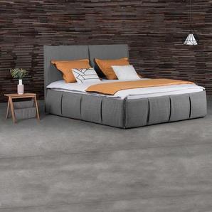 Design Polsterbett in Grau Webstoff mit 2 Nachttischen (dreiteilig)