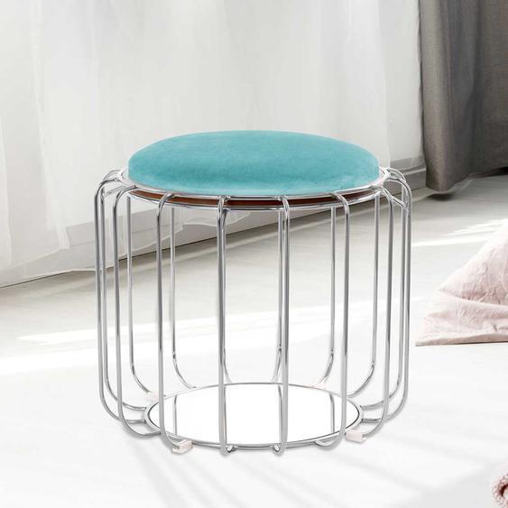 Design Polsterhocker in Mintgrün und Silberfarben rund