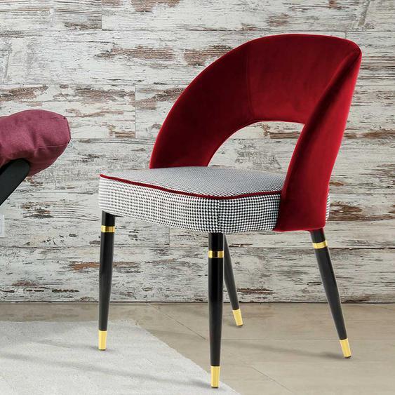 Design Polsterstühle in Rot und Schwarz kariert Metallgestell (2er Set)