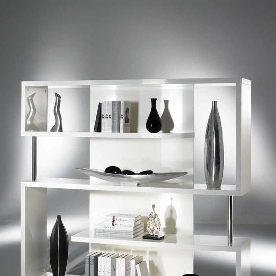 Design Regal in Hochglanz Wei� mit F�chern