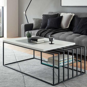 Design Salontisch in Weiß und Schwarz Bügelgestell