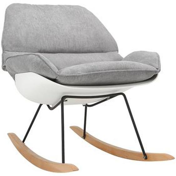 Design-Schaukelstuhl KOKON aus weißer Schale und grauem Stoff