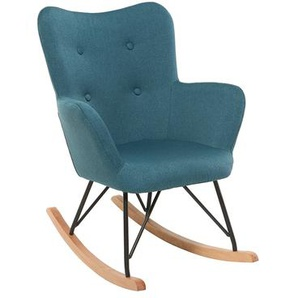 Design-Schaukelstuhl Stoff Blau Beine Metall und Eiche BABY BRISTOL