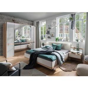 Design Schlafzimmer Set in Eiche Bianco und Beige modern (vierteilig)