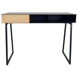 Design Schreibtisch in Schwarz aus Stahl Schublade