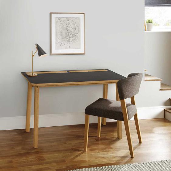 Design Schreibtisch in Schwarz und Eichefarben Retro Look