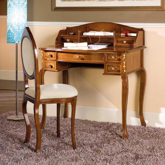 Design Schreibtisch und Stuhl im Barock Look Nussbaum und Creme Weiß (2-teilig)