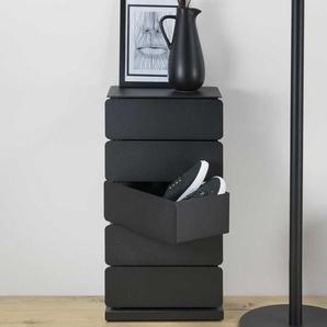 Design Schuhkommode in Schwarz schwenkbaren Schubladen