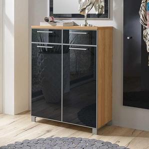 Design Schuhschrank in Anthrazit Glas beschichtet modern