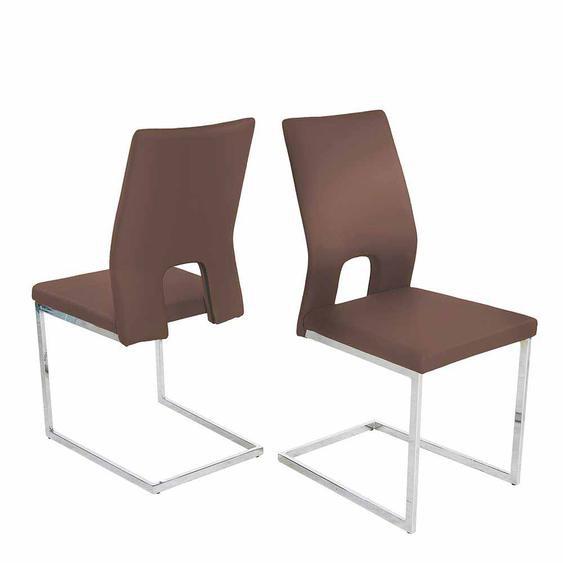 Design Schwingstuhl Set in Braun Kunstleder Lehne offen (4er Set)