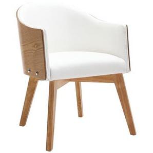 Design-Sessel - helles Holz und PU Weiß - NORDECO