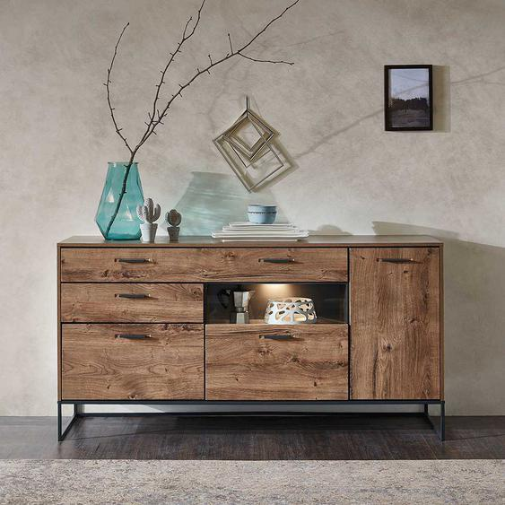 Design Sideboard in Eiche dunkel Optik 175 cm breit
