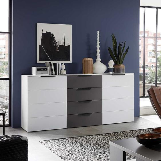 Design Sideboard in Weiß und Dunkelgrau 180 cm breit