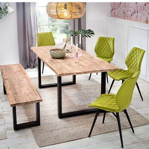 Design Sitzgruppe mit Baumkante hellgr�nen St�hlen (6-teilig)