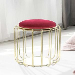 Design Sitzhocker in Rot und Goldfarben wendbarem Sitz
