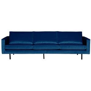 Design Sofa in Dunkelblau Samt Retro