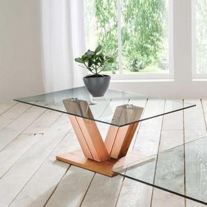 Design Sofatisch aus Kernbuche Massivholz Glas