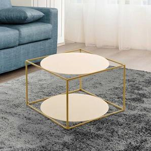 Design Sofatisch in Goldfarben runden Glasplatten