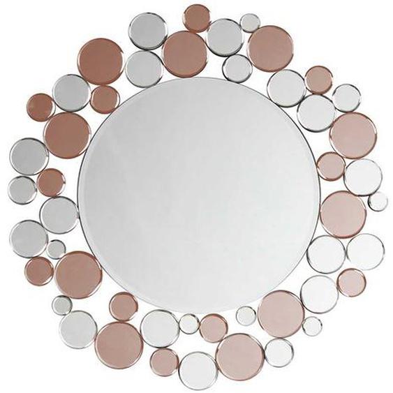 Design Spiegel in Silberfarben und Rosegold rund