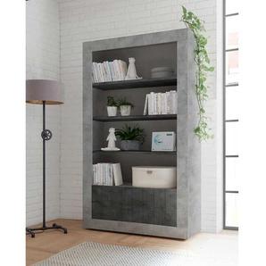 Design Standregal in Beton Grau und Dunkelgrau 110 cm breit