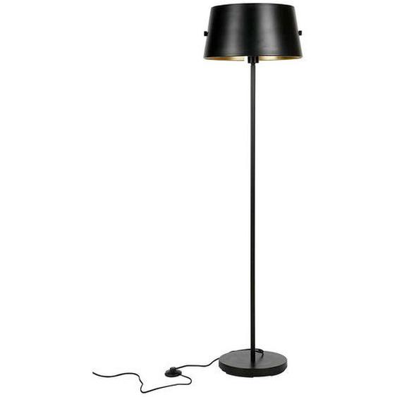 Design Stehlampe in Schwarz und Messingfarben Schirm
