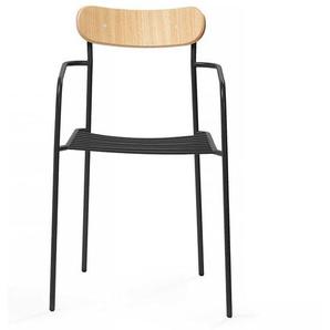 Design Stuhl aus Stahl und Schichtholz Armlehnen (2er Set)