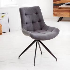 Design Stuhl DIVANI hellgrau Metallgestell schwarz im Retro Stil
