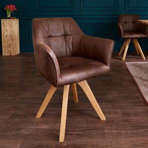 Design Stuhl LOFT antik braun Buchenholz Beine mit Armlehnen