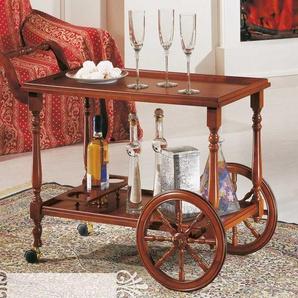 Design Teewagen in Nussbaumfarben großen Rädern