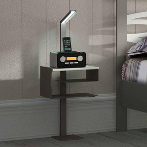 Design Telefontisch in Grau Stahl