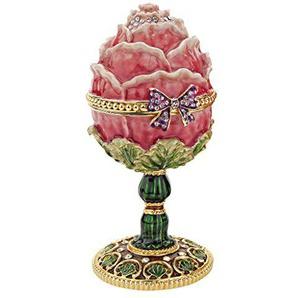 Design Toscano Emailliertes Ei im Faberge-Stil Eine Gartenrose