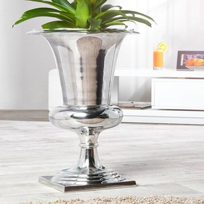 Design Vase GOAL 60cm silber Pflanzen Pokal Aluminium