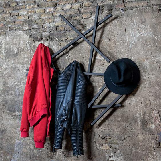 Design Wandgarderobe aus Stahl Schwarz