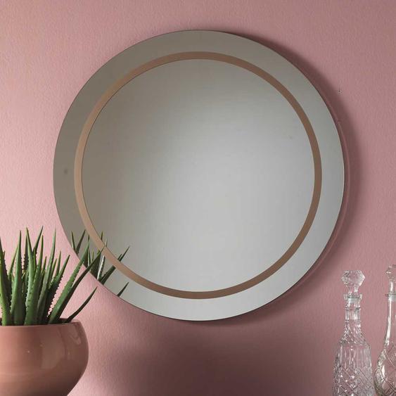 Design Wandspiegel in Bronzefarben rund