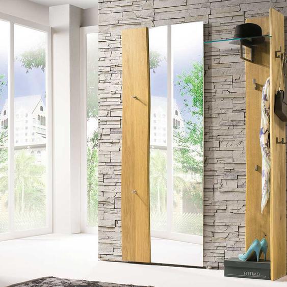 Design Wandspiegel mit Haken und Baumkante 70 cm breit